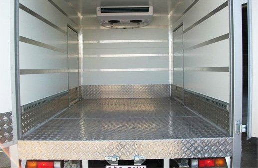The inside of a refrigerated truck